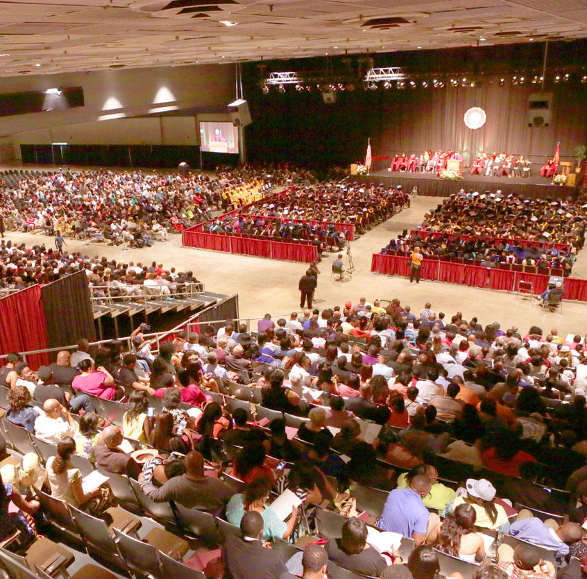 link to the Baccalaureate and Commencement Ceremony Protocols page, photo of the commencement ceremony in the Dayton Convention Center 2017