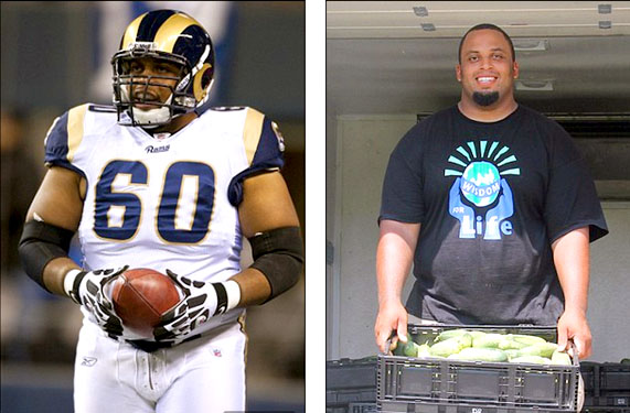 Jason Brown in uniform as a St. Louis Rams lineman, and with his produce from First Fruit Farm of Louisburg, North Carolina.