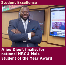 Student Excellence, Aliou Diouf, finalist for national HBCU Male Student of the Year Award. Nine Students worked at Union Savings Bank Headquarters in Innovative CSU Training Program.