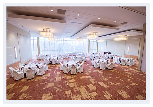 Image of the Grand Ballroom floor-to-ceiling windows, University Student Center, Central State University