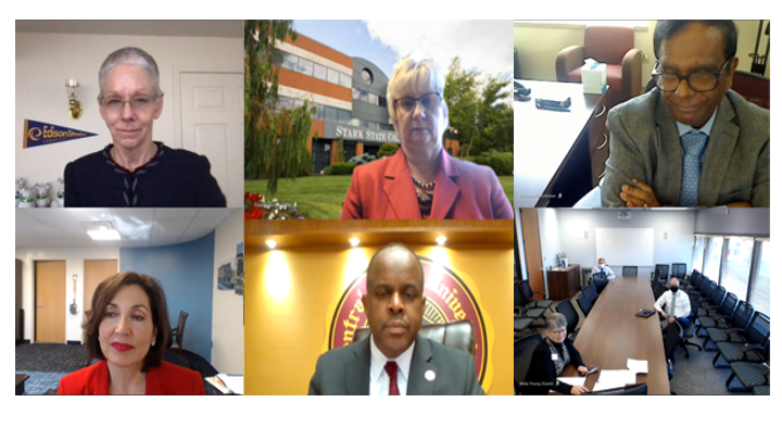 Photo 1- (Top Left: President Dr. Doreen Larson, Edison State), (Top Center: Provost Dr. Lada Gibson- Shreve, Stark State College), (Top Right: Dr. Subramania Sritharan, Interim Director Central State University Land-Grant), (Bottom Left: President Dr. Para Jones, Stark State College), (Center Bottom: President Jack Thomas, Central State University), (Bottom Right: President Betty Young, Hocking College)