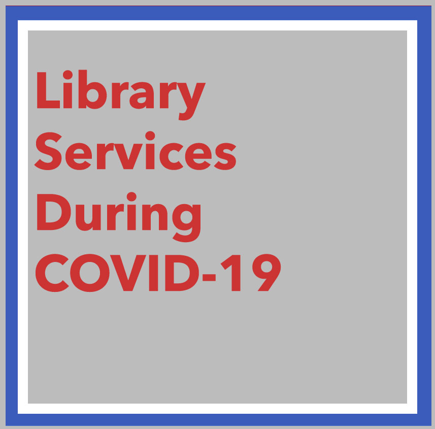 link to Library Services During COVID-19 page, photo of CSU diplomas at the 2017 Commencement.