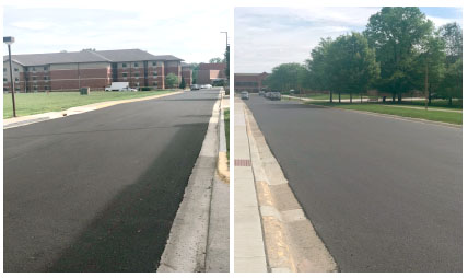 photo of the road improvement on the campus of Central State University.
