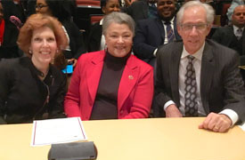 LEED Keynote Speaker Dr. Loretta Mester, Central State University President Cynthia Jackson-Hammond and Union Savings Bank CEO Louis Beck in Wilberforce, Ohio on April 4, 2018