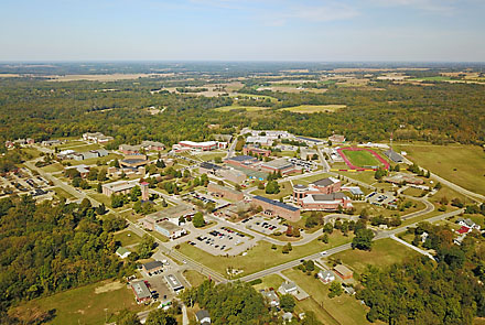 Aerial view of the Central State University Campus in Wilberforce, Ohio